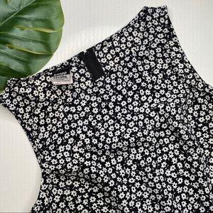 Vintage Black & White Flower Dress